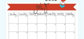 free printable monthly calendar :: july 2018