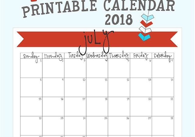 free printable july 2018 monthly calendar