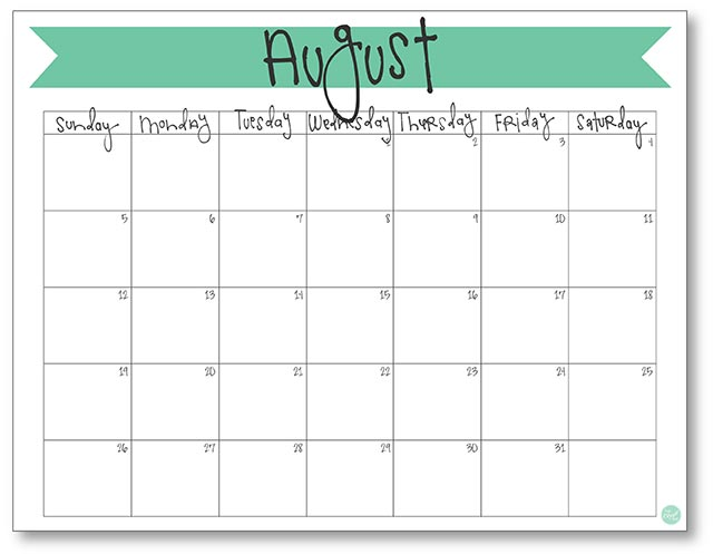 photograph relating to Printable August Calendar named August 2018 Calendar - Totally free Printable Reside Craft Consume