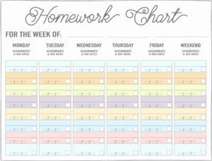 weekly/daily homework chart