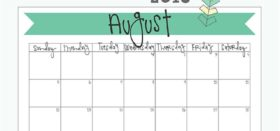 free printable monthly calendar :: august 2018