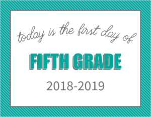 printable first day signs striped border fifth grade