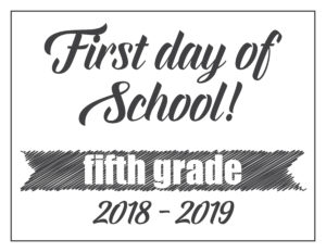 first day sign basic banner fifth grade