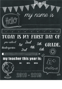 customizable first day of school signs