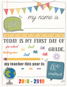 first day of school sign customizable template
