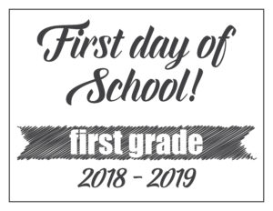 first day sign basic banner first grade