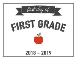 first grade first day of school printable with apple