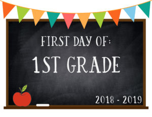 first day of school chalkboard bunting 1st grade