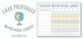 free printable homework charts for kids