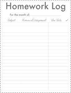 printable kids monthly homework log