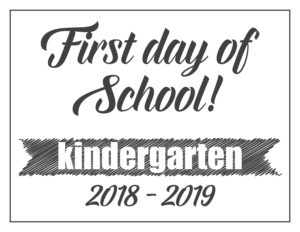 first day sign basic banner kindergarten