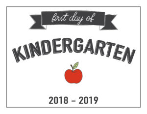 kindergarten first day of school printable with apple