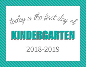 printable first day signs striped border kindergarten