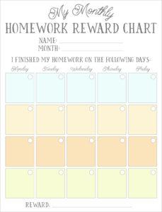 homework sticker reward chart