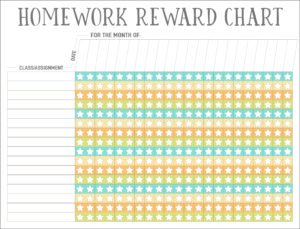 monthly homework reward chart