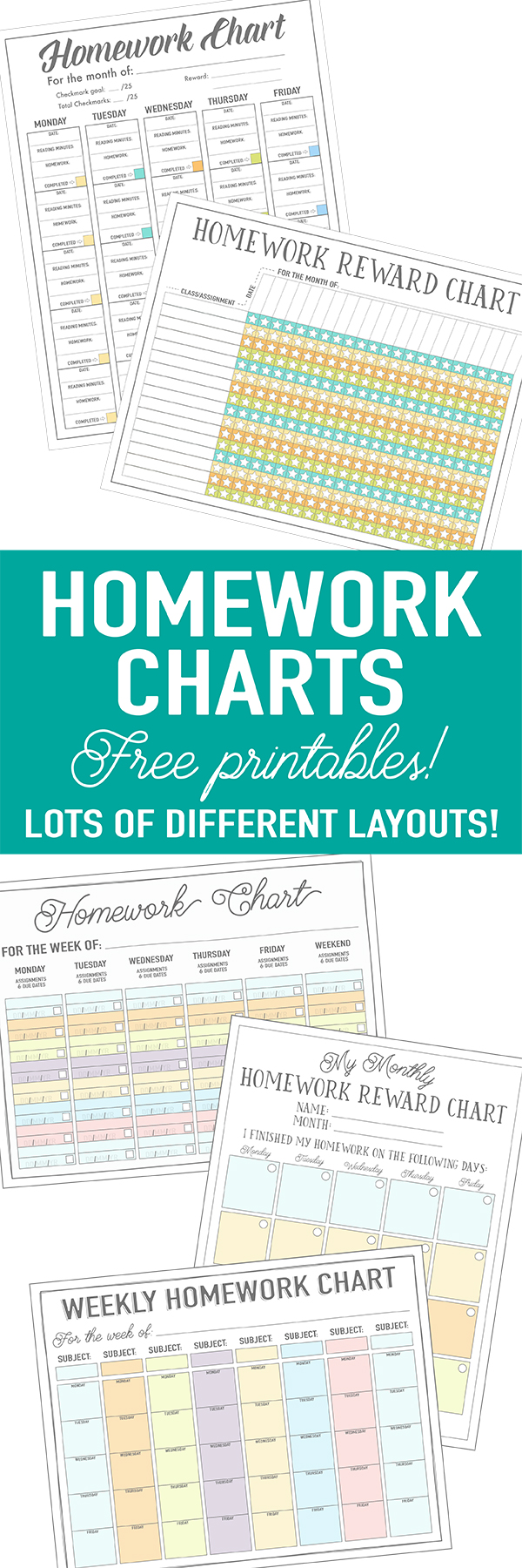 free printable homework charts for kids