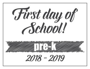 first day sign basic banner pre-k