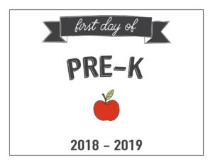 pre-k first day of school printable with apple