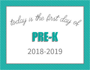 printable first day signs striped border pre-k