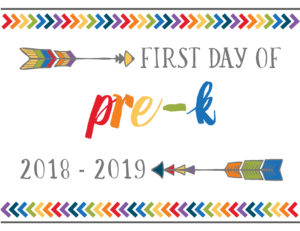 first day of school printables boho pre-k