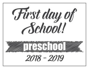first day sign basic banner preschool