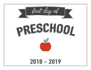 preschool first day of school printable with apple