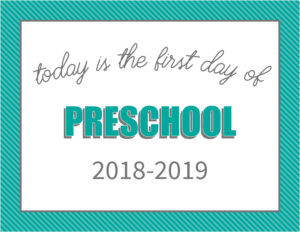 printable first day signs striped border preschool