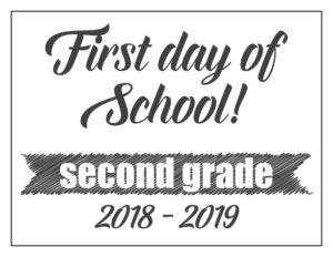 first day sign basic banner second grade
