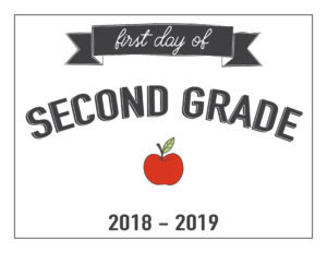 second grade first day of school printable with apple