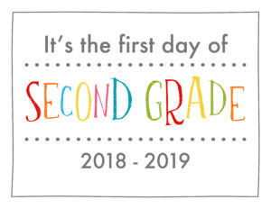 back to school sign rainbow colors second grade