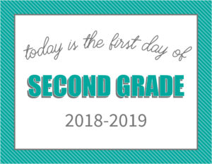 printable first day signs striped border second grade