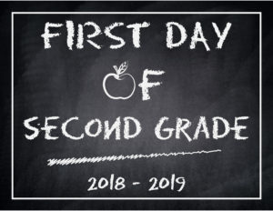 back to school chalkboard apple second grade