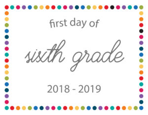 free printable school signs rainbow dots sixth grade