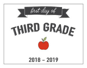 third grade first day of school printable with apple