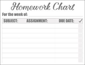 homework checklist chart