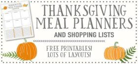 thanksgiving meal planners and shopping lists