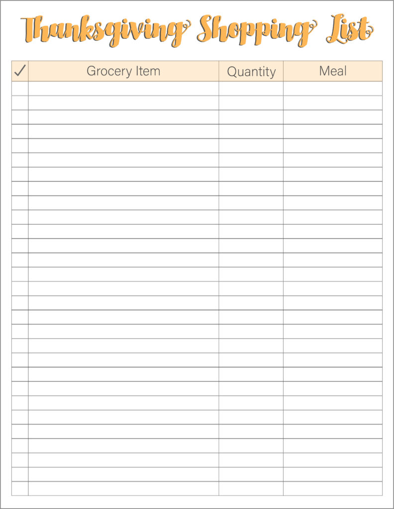Thanksgiving Grocery List Basic
