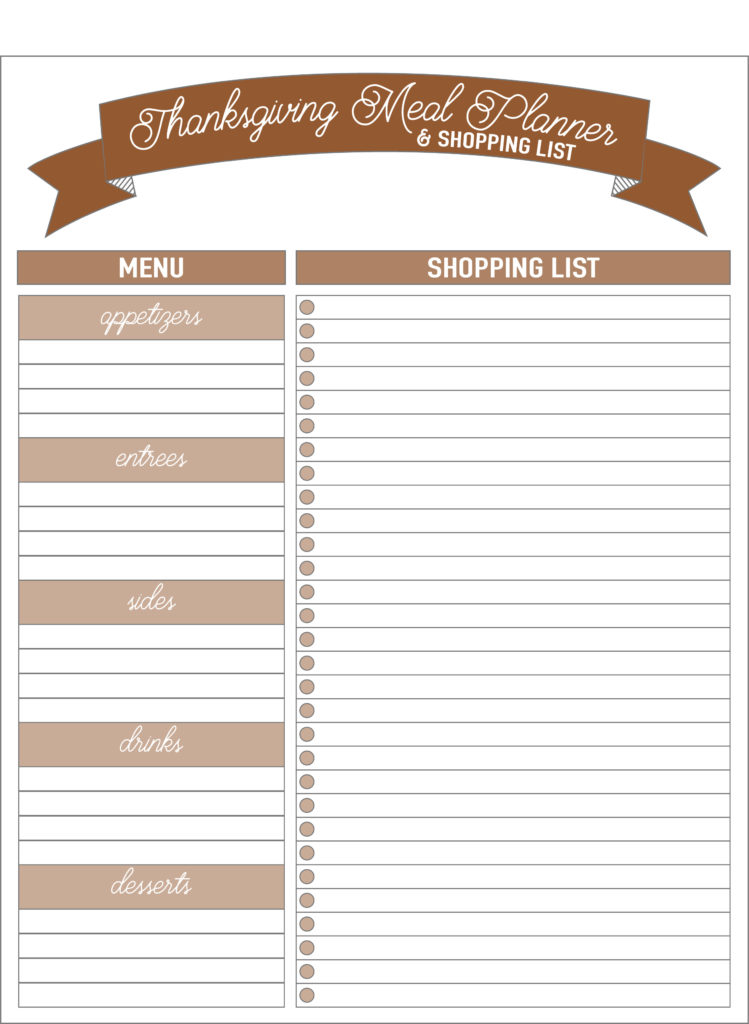 meal planner and shopping list for thanksgivin