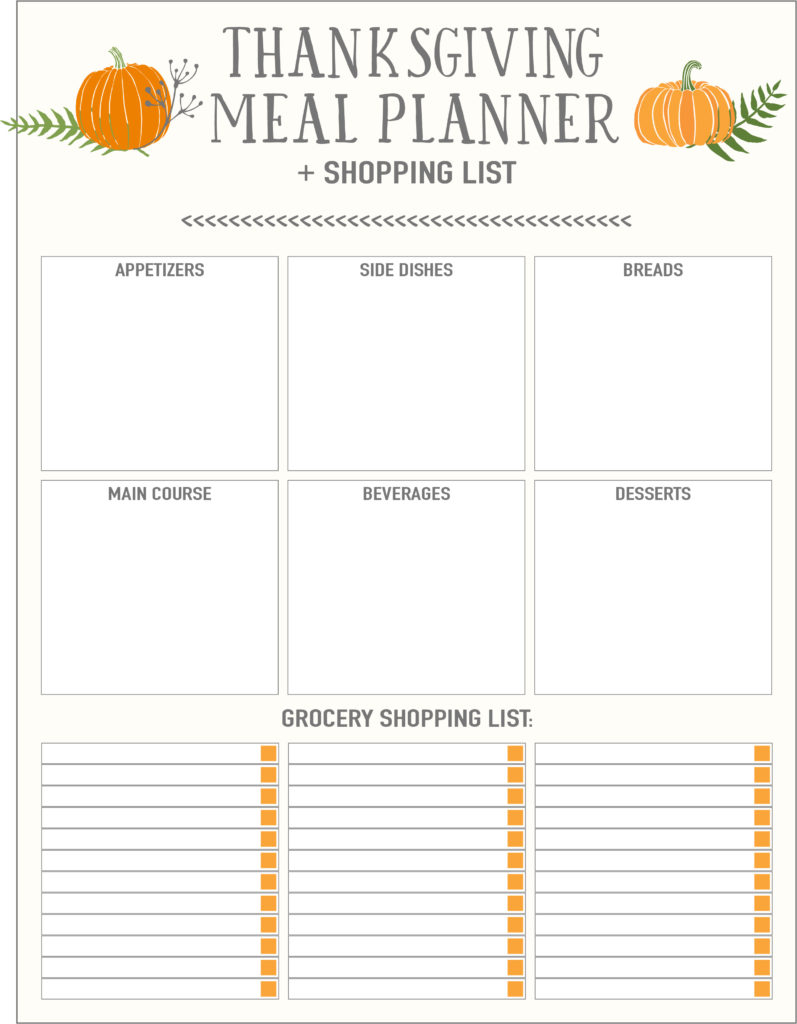 Thanksgiving Meal Planners Shopping List Printables Free Live Jpg 797x1024 Food Template