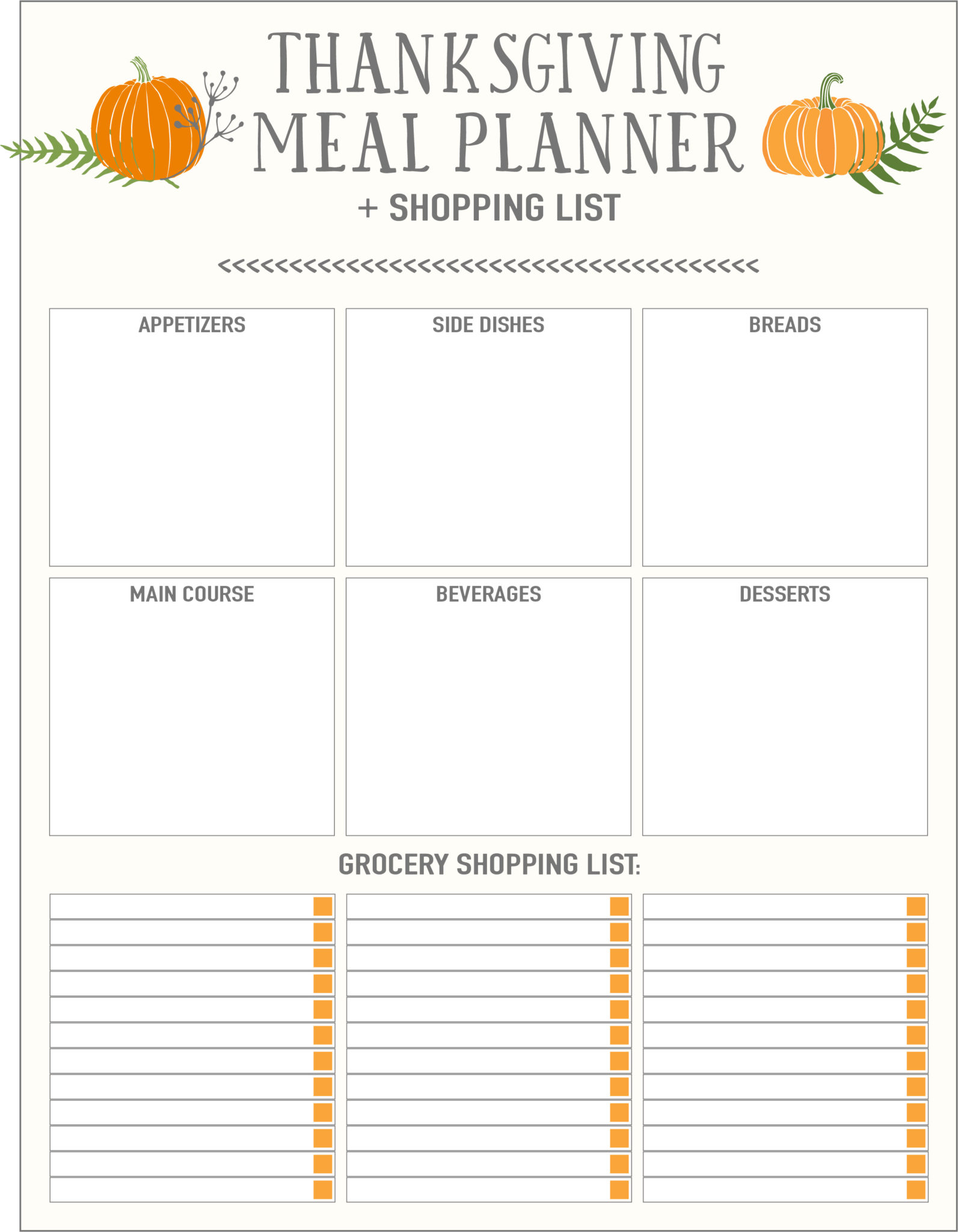 thanksgiving meal planner with pumpkins
