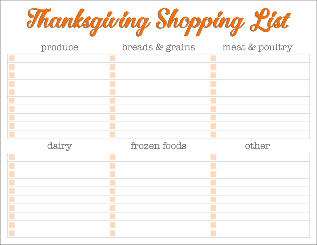 thanksgiving shopping list sections