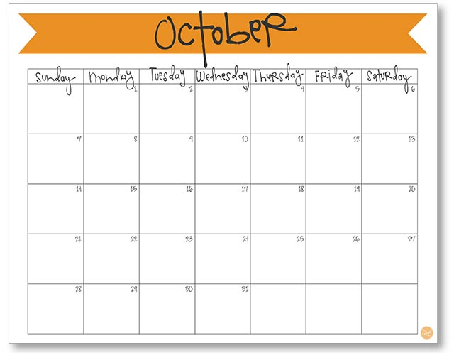 free printable monthly calendar :: october 2018
