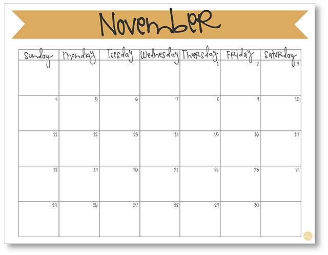 "free printable November 2018 calendar 8.5""x11"""