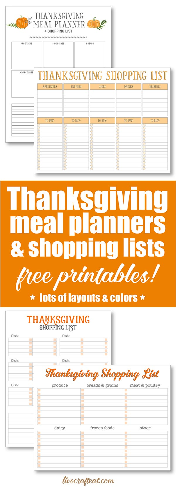 free printable thanksgiving meal planners & shopping lists! lots of layouts and colors!