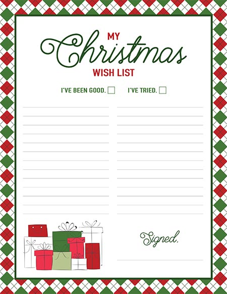 My Christmas Wish List free printable