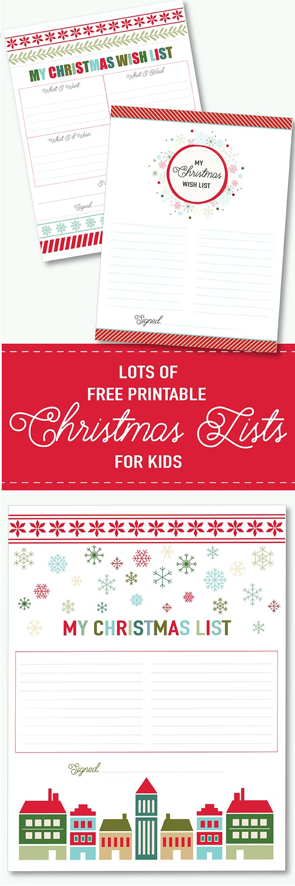 lots of free printable Christmas Wish Lists for kids to print at home!