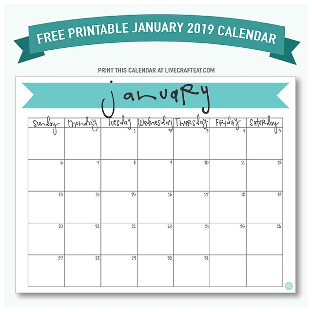 graphic relating to Calendar Free Printable titled January 2019 Calendar - Cost-free Printable Stay Craft Consume