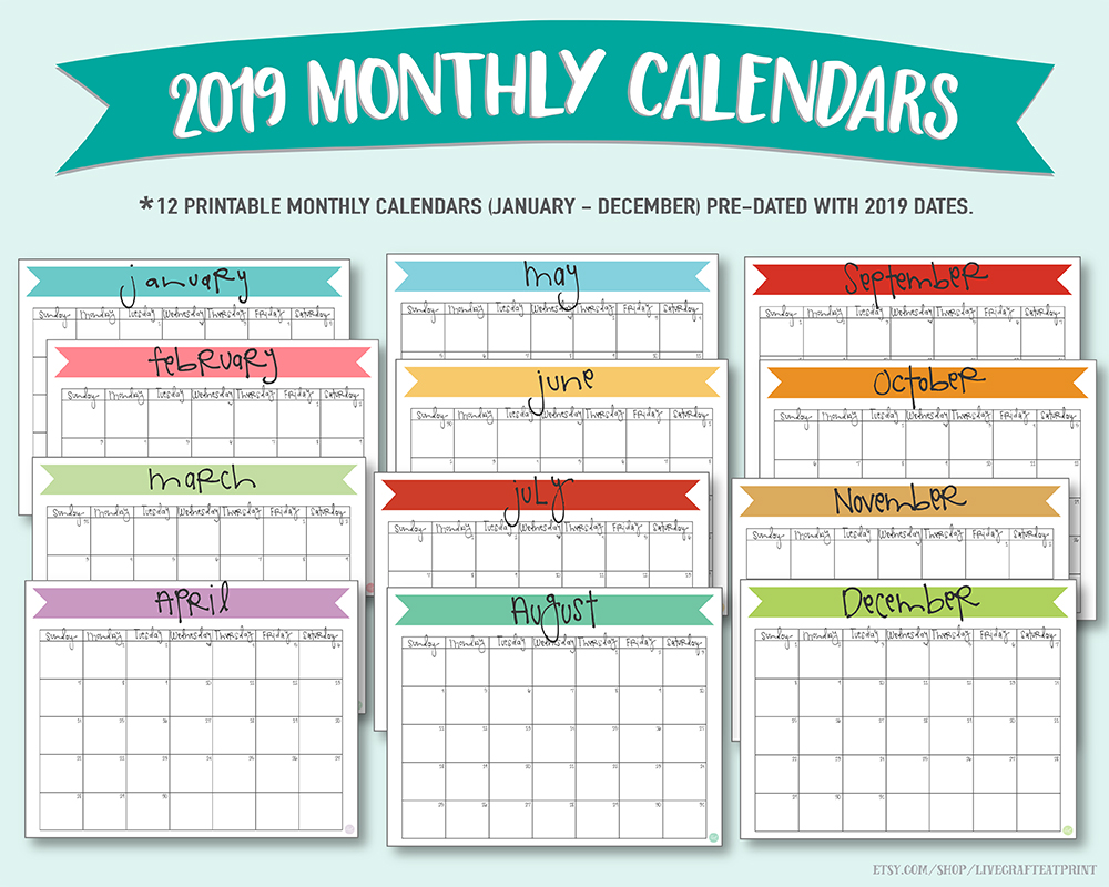 Printable 2019 monthly calendars :: livecrafteatprint on Etsy