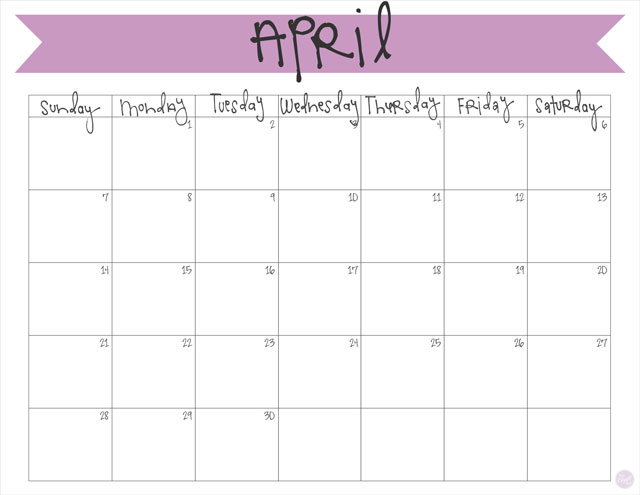 April 2019 Calendar Free Printable Live Craft Eat