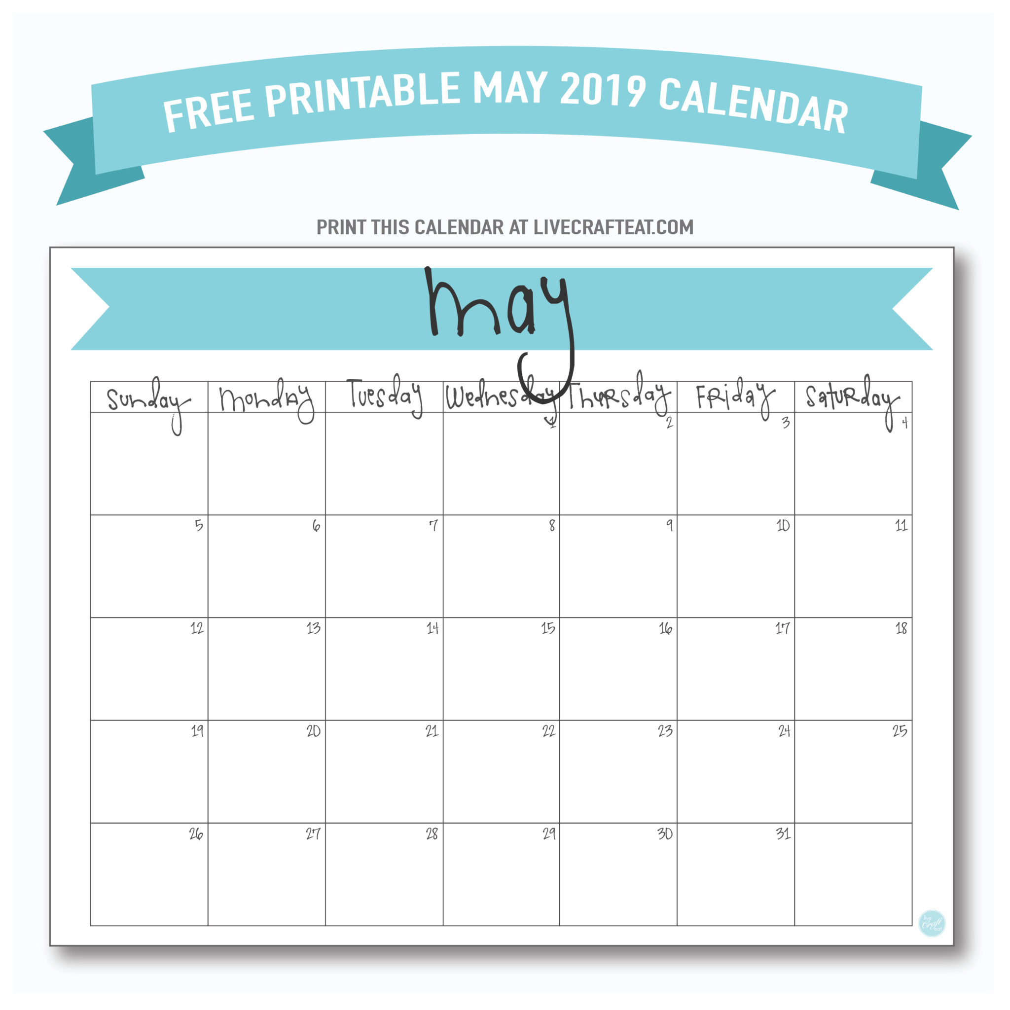 May 2019 Calendar Free Printable Live Craft Eat